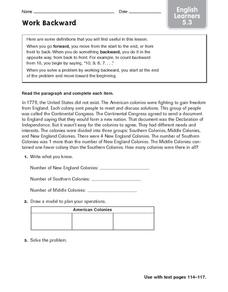 Work Backward - ELL Worksheet
