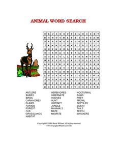 Work Search with Animal Words Worksheet