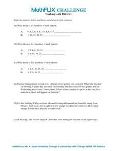Working with Patterns Worksheet