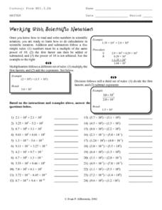 Working with Scientific Notation Worksheet