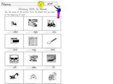Working with Ss Blends Worksheet