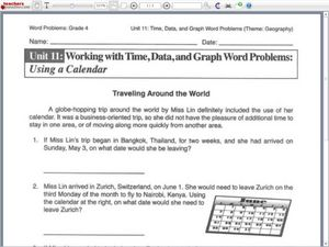 working with time data and graph word problems using a calendar 3rd 5th grade worksheet. Black Bedroom Furniture Sets. Home Design Ideas