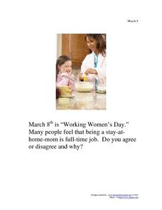 Working Women's Day: March 8 Worksheet