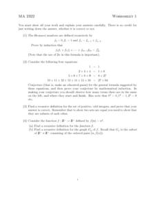 Worksheet 1: Fibonacci Numbers Worksheet