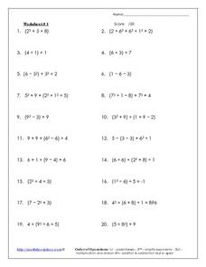 Worksheet #1: Order of Operations Worksheet