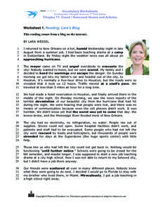 Worksheet 1: Reading: Lara's Blog Worksheet