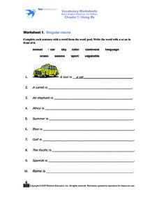 Worksheet 1: Singular Nouns Worksheet