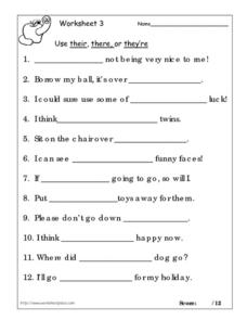 Worksheet 1: Their, There, or They're Worksheet