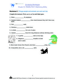 Worksheet 1: Things People and Animals Can and Can't Do Worksheet