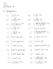 Worksheet 10:  Integration Worksheet