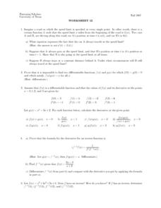 Worksheet 12 - Differentiable Functions Lesson Plan
