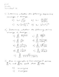 Worksheet 12: Sequences Worksheet