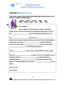 Worksheet 16: Vocabulary Review Worksheet