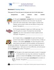 Worksheet 2: Games Worksheet
