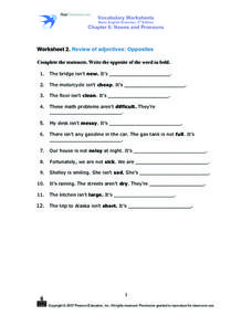 Worksheet 2. Review of Adjectives: Opposites Worksheet