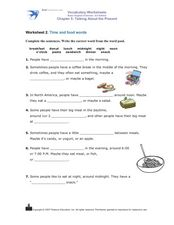 Worksheet 2: Time and Food Words Worksheet