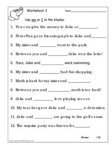 Worksheet 3: Me or I Worksheet