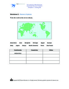 Worksheet 3. Names of Places Worksheet