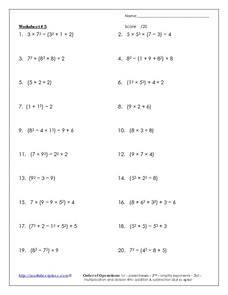 Worksheet #3: Order of Operations Worksheet