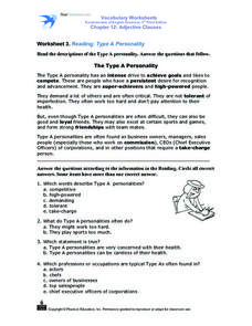 Worksheet 3. Reading: Type A Personality Worksheet