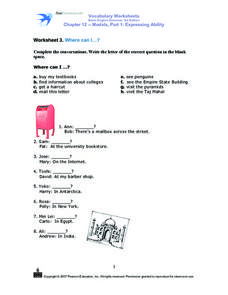 Worksheet 3. Where Can I...? Worksheet