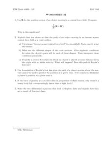Worksheet 32: Kepler's Law Lesson Plan