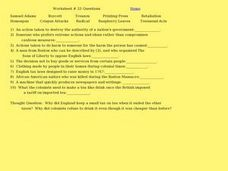 Worksheet #33 Questions - Boston Tea Party Worksheet