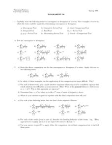 Worksheet 38 - Convergence or Divergence Lesson Plan