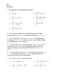 Worksheet 4:  Evaluating Integrals Worksheet