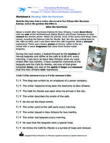 Worksheet 4: Reading: After the Hurricane Worksheet