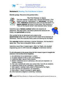 Worksheet 4. Reading: The First Woman in Space Worksheet