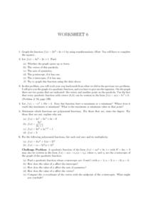 Worksheet 6, Graphing Functions Lesson Plan