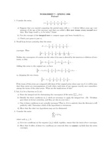 Worksheet 7 - Integral Test Lesson Plan