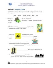 Worksheet 7 Vocabulary Review- Nouns and Modifiers Worksheet