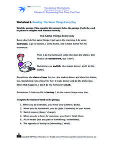 Worksheet 8. Reading: The Same Things Every Day Worksheet