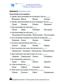 Worksheet 8. Vocabulary Review Worksheet