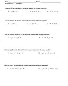 Worksheet 9.2 Analysis: Arithmetic Sequence Worksheet