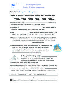 Worksheet 9: Comparisons- Geography Worksheet