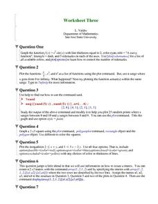 Worksheet Three: Graphing Functions Worksheet