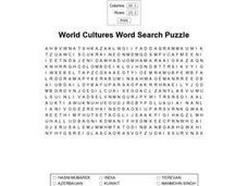 World Cultures Word Search Puzzle Worksheet