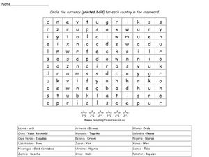 World Currency Word Search Worksheet