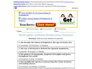 World Leaders Vocabulary Multiple Choice Worksheet Worksheet