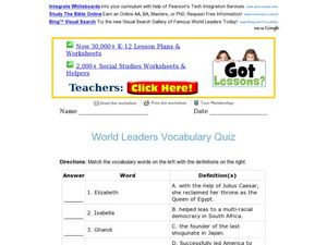 World Leaders Vocabulary Quiz Worksheet