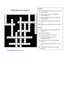 World War 1 Crossword Worksheet
