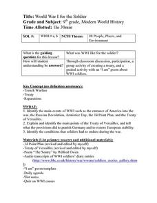 World War I For the Soldier Lesson Plan