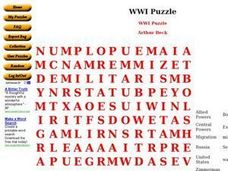 World War I Puzzle Worksheet