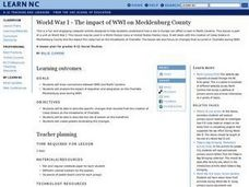 World War I - The impact of WWI on Mechlenburg County Lesson Plan