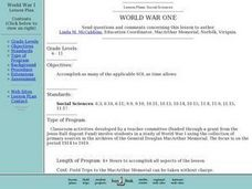 World War One Lesson Plan