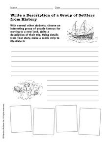 Write a Description of a Group of Settlers  from History Worksheet