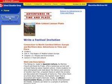 Write a Festival Invitation Lesson Plan